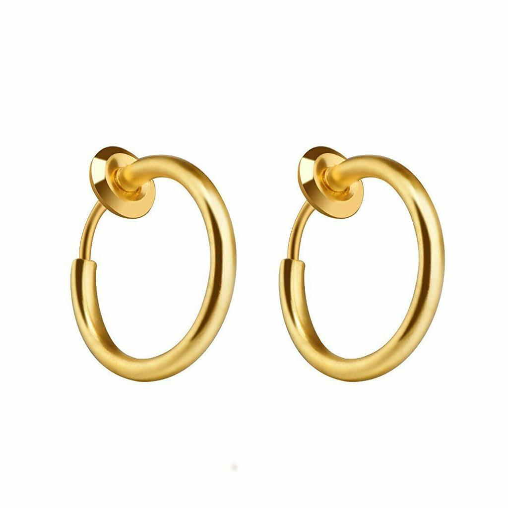 LUORATA Fashion Men Retractable Earrings Pierceless Women Classic Hip-hop Hoop Earrings