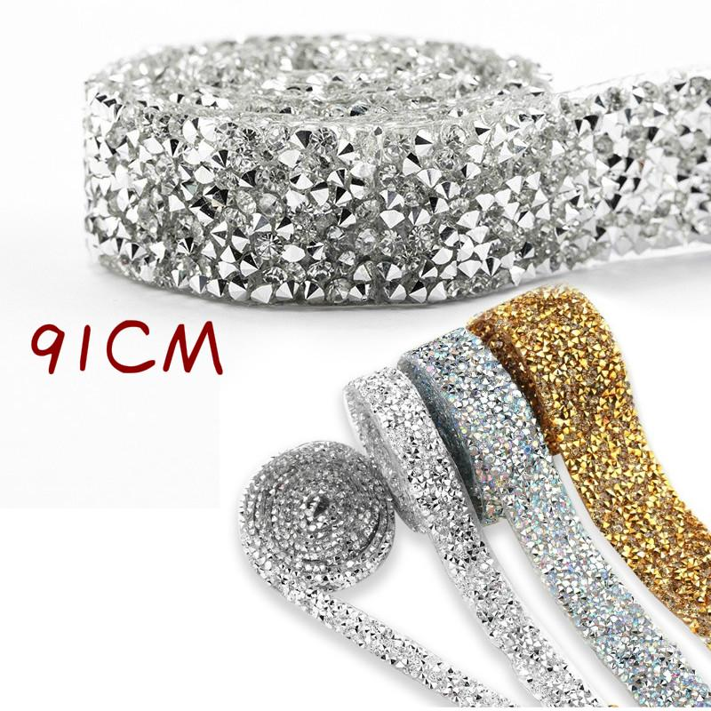 Crystal Strass Iron On Rhinestone Tape Ribbon Sewing Trim Appliques Craft Chain