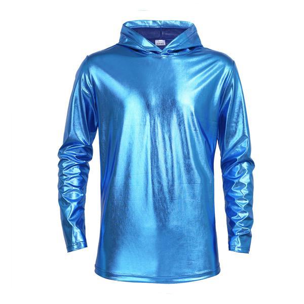 Men/'s Shiny Metallic Pullover Hoodies Clubwear Long Sleeve Hoody Top T Shirt