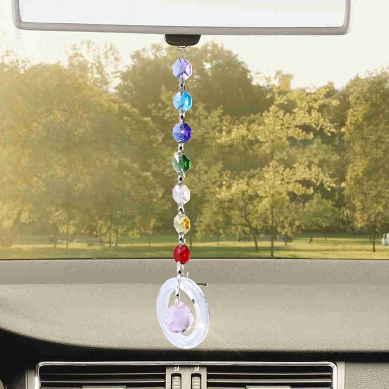 DIY Craft Home Decor Hanging Pendant Window Handmade Rainbow Crystal Prisms Ball Chandelier Lamp for Xmas Decor Rainbow Suncatcher