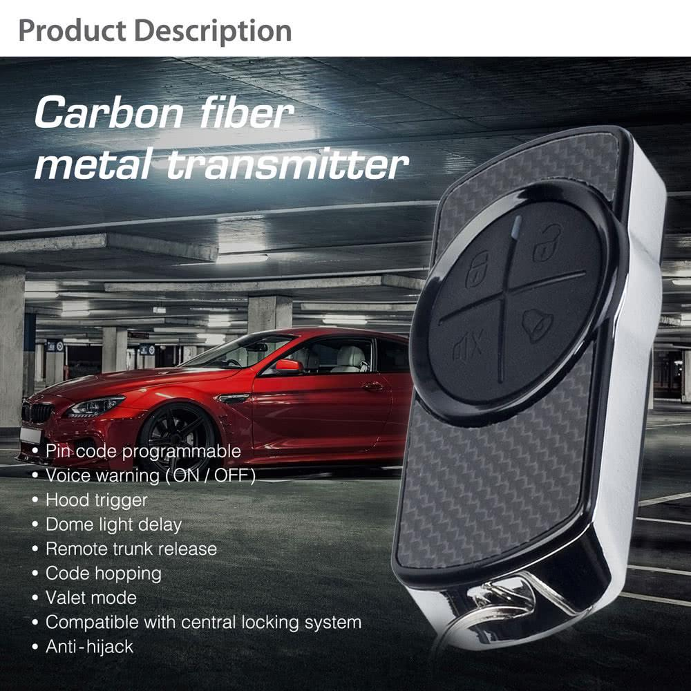Steelmate 838N 1 Way Car Alarm System Match Central Locking System /& Window Closer Anti-hijacking Remote Trunk Release with Carbon Fiber Transmitter