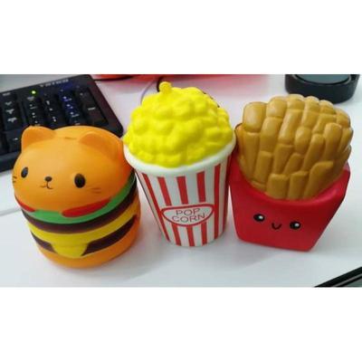 PU Simulation Hamburger Fries Squishy Slow Rising Charms Kid Hand Decorative Gift Fun Stress Relief