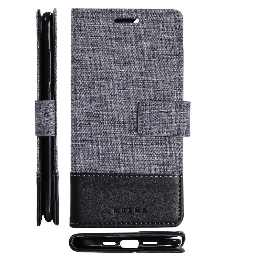 MUXMA OPPO R9S/F3/PLUS帆布两折手机壳 A57/F1S翻盖插卡保护皮套