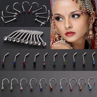 10pcs Crystal Rhinestone Nose Ring Bone Stud Stainless Body Piercing Jewelry FJ