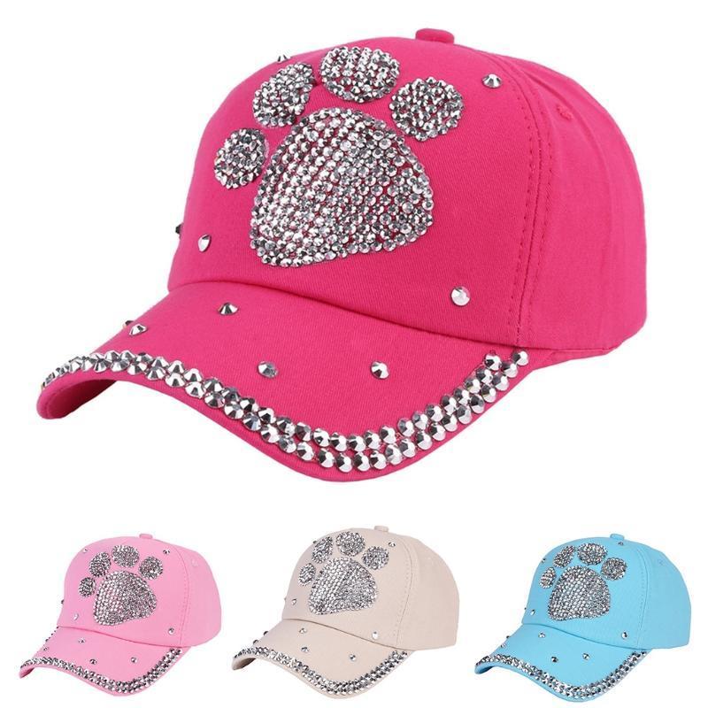 Moda mujer niño tachonada Rhinestone gorra ajustable pata patrón sombrero  de béisbol - comprar a precios bajos en la tienda en línea Joom 796262d3038