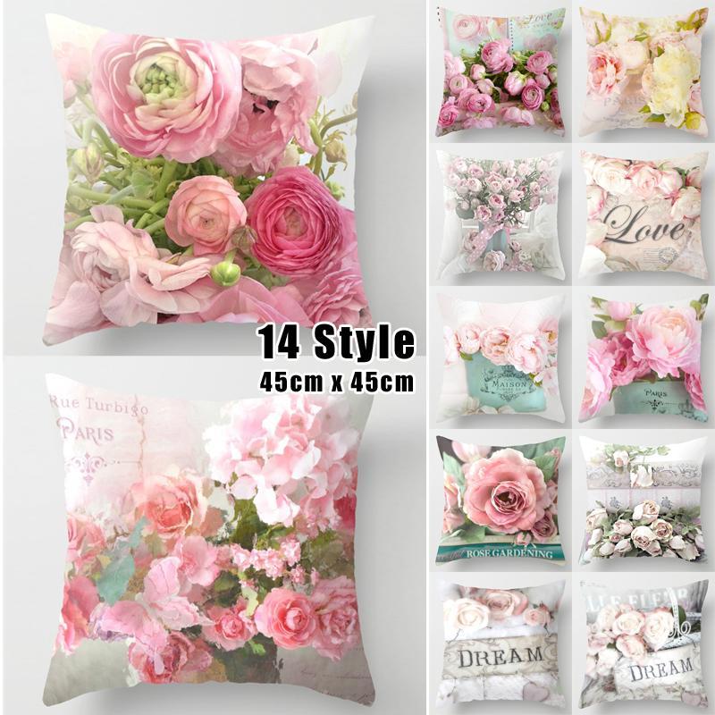 Яркая красочная наволочка для декоративной подушки с цветочным принтом фото