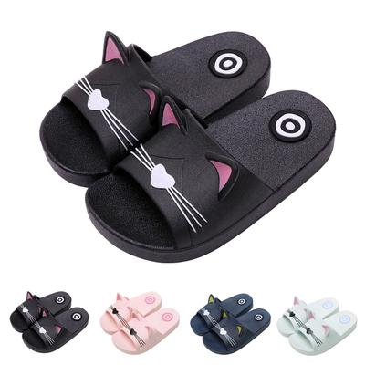 bd2293af6b5b Baby Kids Girls Boys Home Slippers Cartoon Cat Floor Family Shoes Beach  Sandals