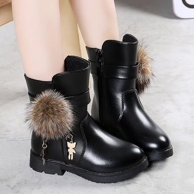 Children's Winter Plus Velvet Hairball Martin Boots Girls Fashion Shoes Short Boots Side Zipper Leather Boots