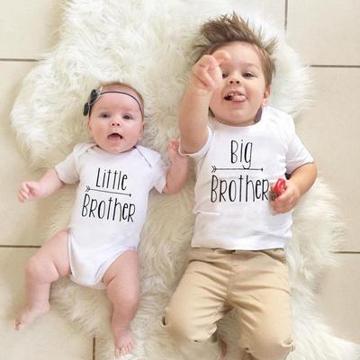 Little Brother Baby Boy Romper Bodysuit Big Brother T-shirt Tops Matching Outfit