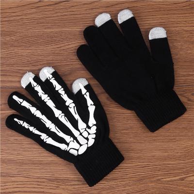 1 Pair Claw Glovesplastic Knitted Wool Ghost Bone Gloves Men Women Halloween Par
