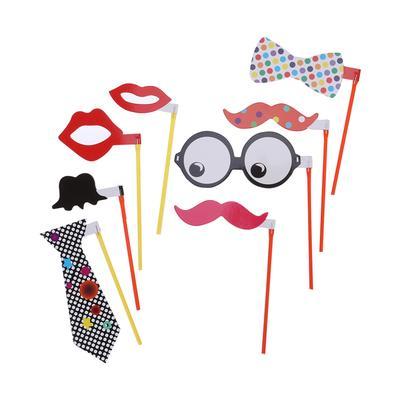 38b1c007d0 8pcs fiesta Funny Photo Booth Props barbas labios rojos anteojos Bowknot  pajarita Pose DIY signos Kit