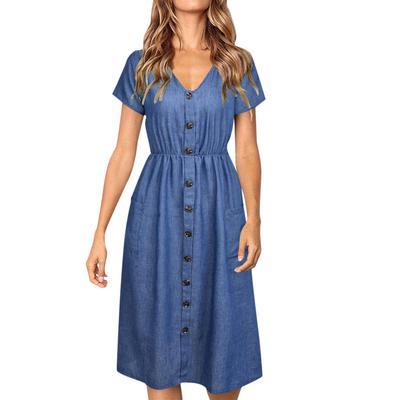 Women Strappy Denim Pocket Dress Ladies Summer Jeans Holiday Midi Swing Dress