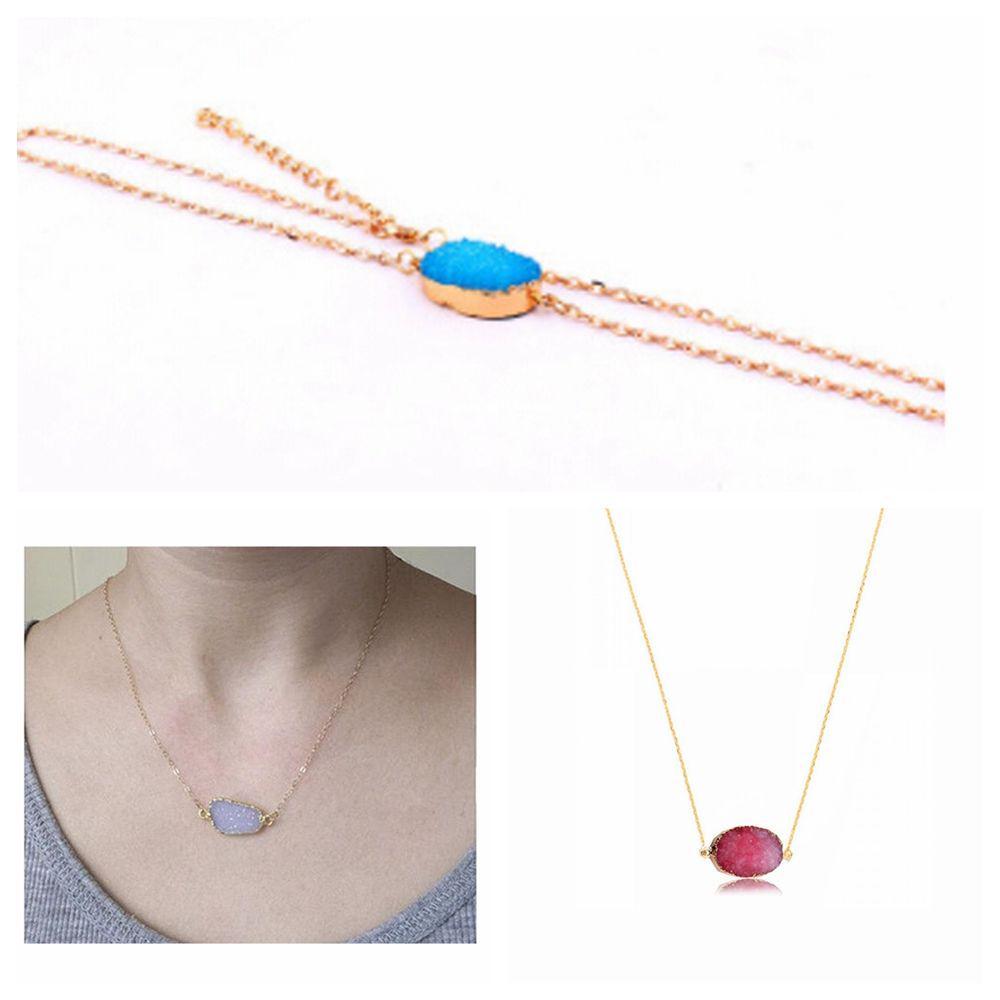 Gift Unique Natural Stone Party Quartz Necklace Durzy Neckalce Amethyst Jewelry