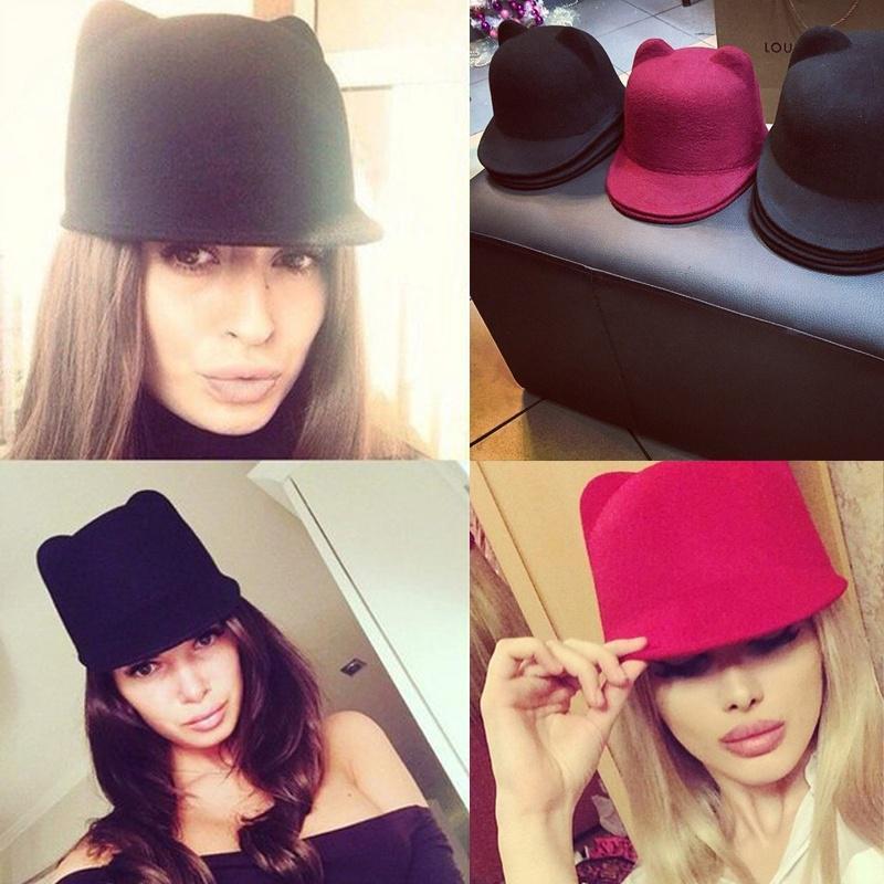 New Winter Fashion Women Devil Hat Cute Wool Derby Bowler Kitty Cat ... 8b2793a98ed0