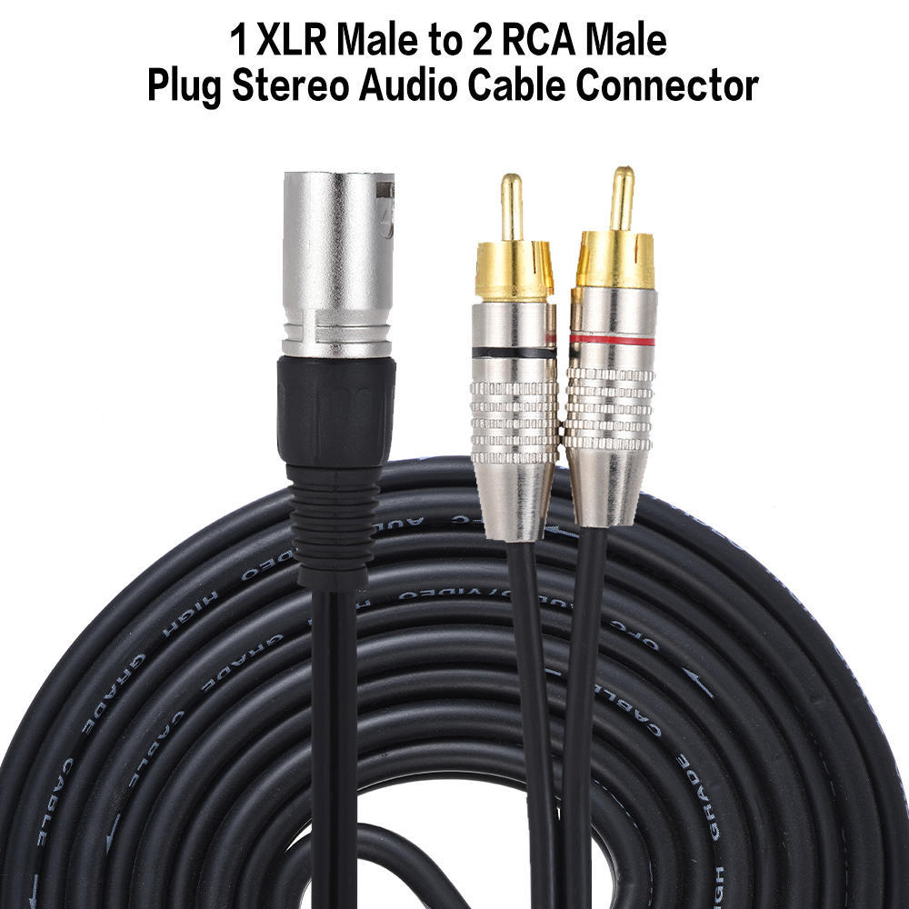 1 XLR Male to 2 RCA Male Plug Stereo Audio Cable Connector Y ...