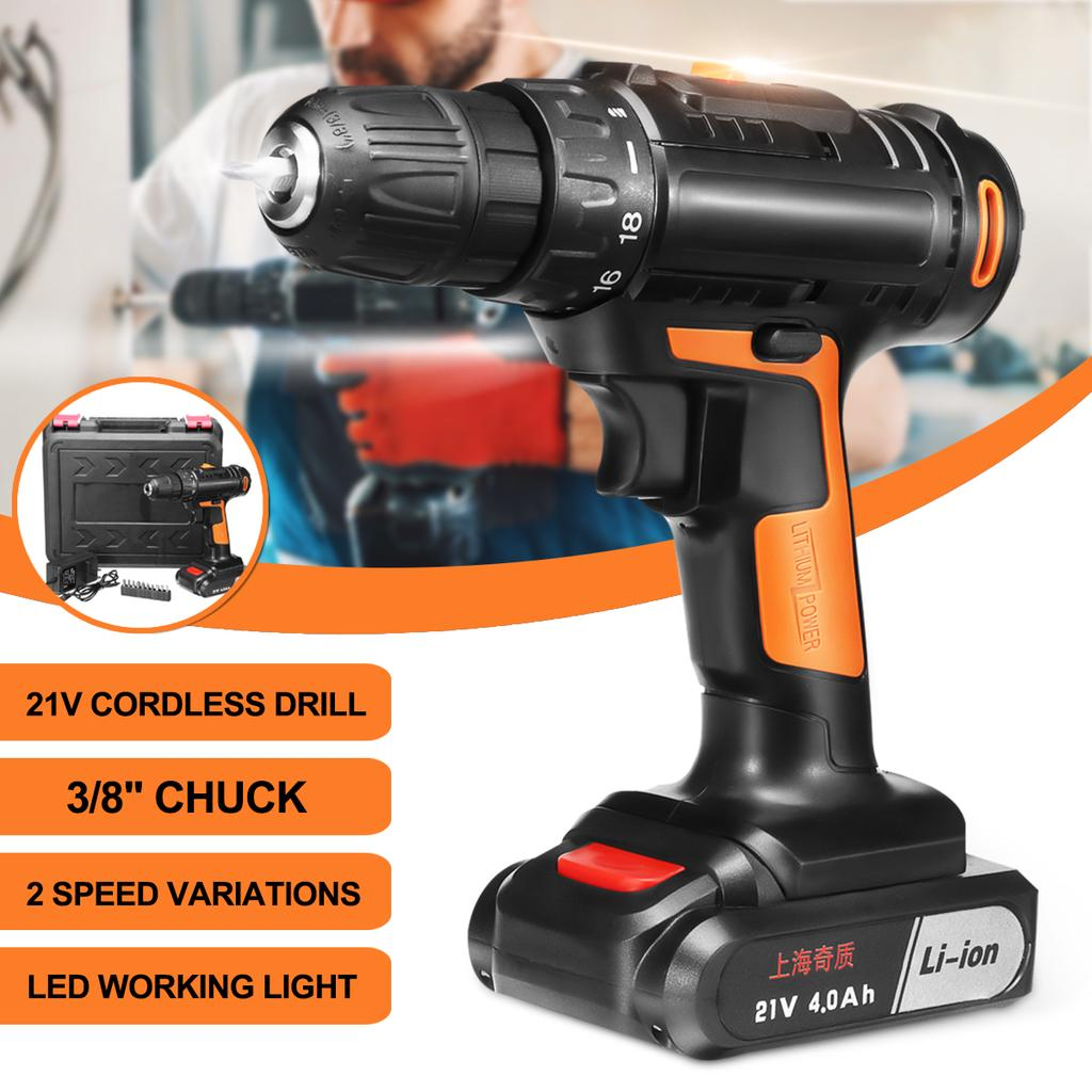 Light 21V Cordless Hammer Drill 3IN1+4000mAh Li-ion Battery 2 Speed 30Nm Torque