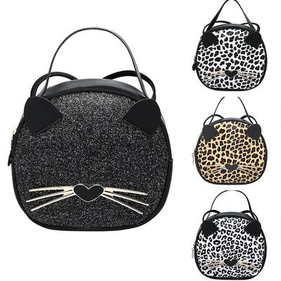 Handbag Casual PU Leather Messenger Bag Leopard Grain Shoulder Bag Cute Cat