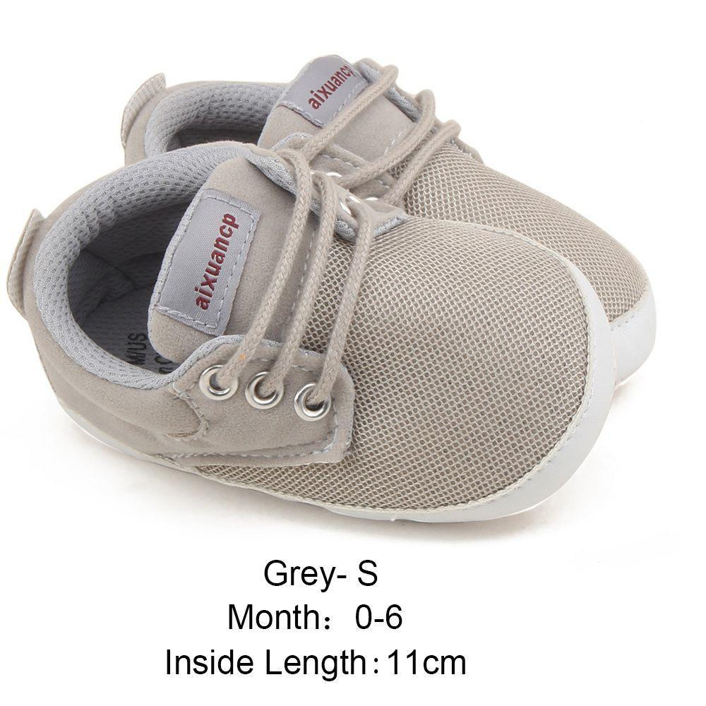 Newborn Baby Boys Shoes First Walkers Ventilation Net Surface Canvas Crib Soft Sole Shoes