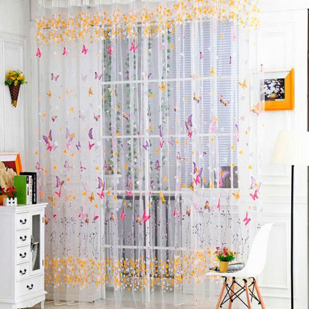 Tür Fenster Schmetterling Voile Sheer Vorhänge Panel Home Room Decoration
