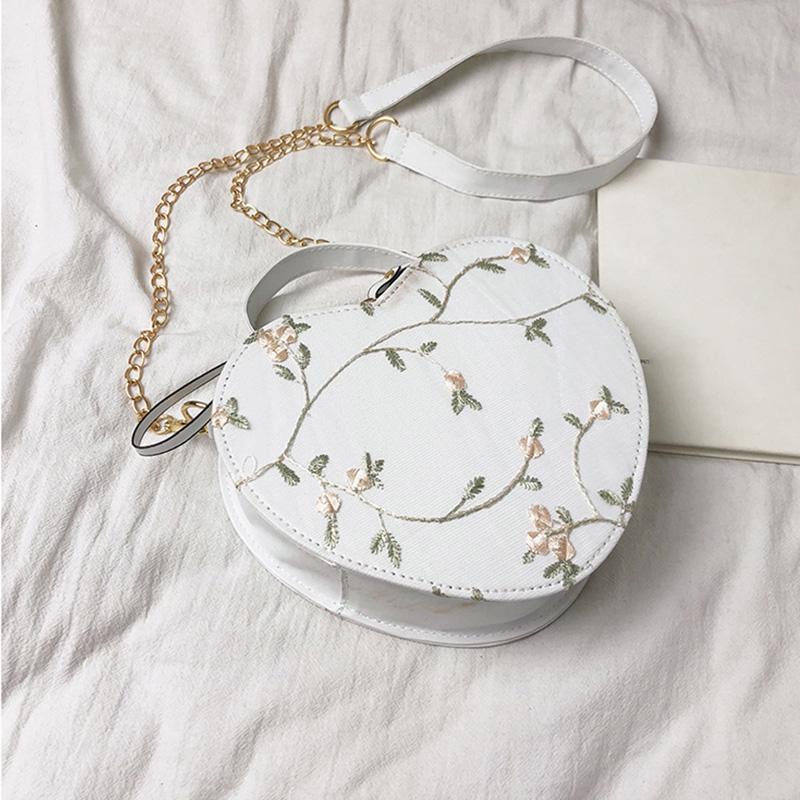 AM/_ Round Shape Heart Pattern Women Zipper Crossbody Shoulder Bag Tote Handbag S