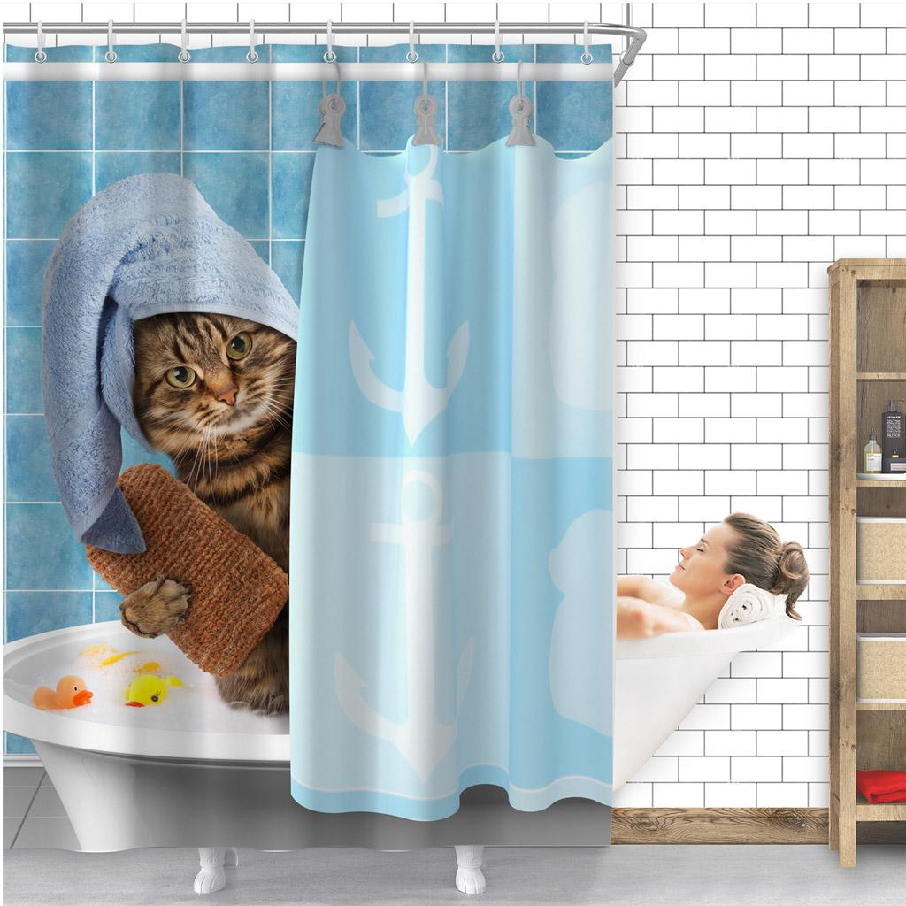 Cat Animal Waterproof Bathroom Shower Curtain Panel Decor with Hooks 180*180cm