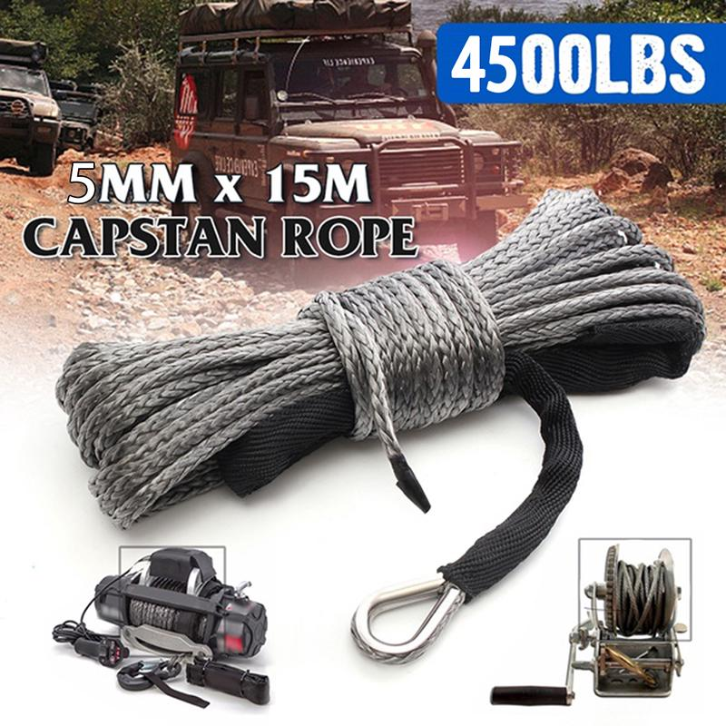 3//16*50ft ATV Winch Line,Synthetic Winch Rope 4500lbs,Spectra Winch Rope,Steel Winch Cable Red
