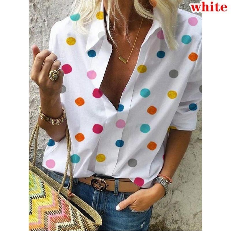 Womens Polka Dot Print Long Sleeve V Neck T-Shirt Casual Loose Blouse Tee Tops