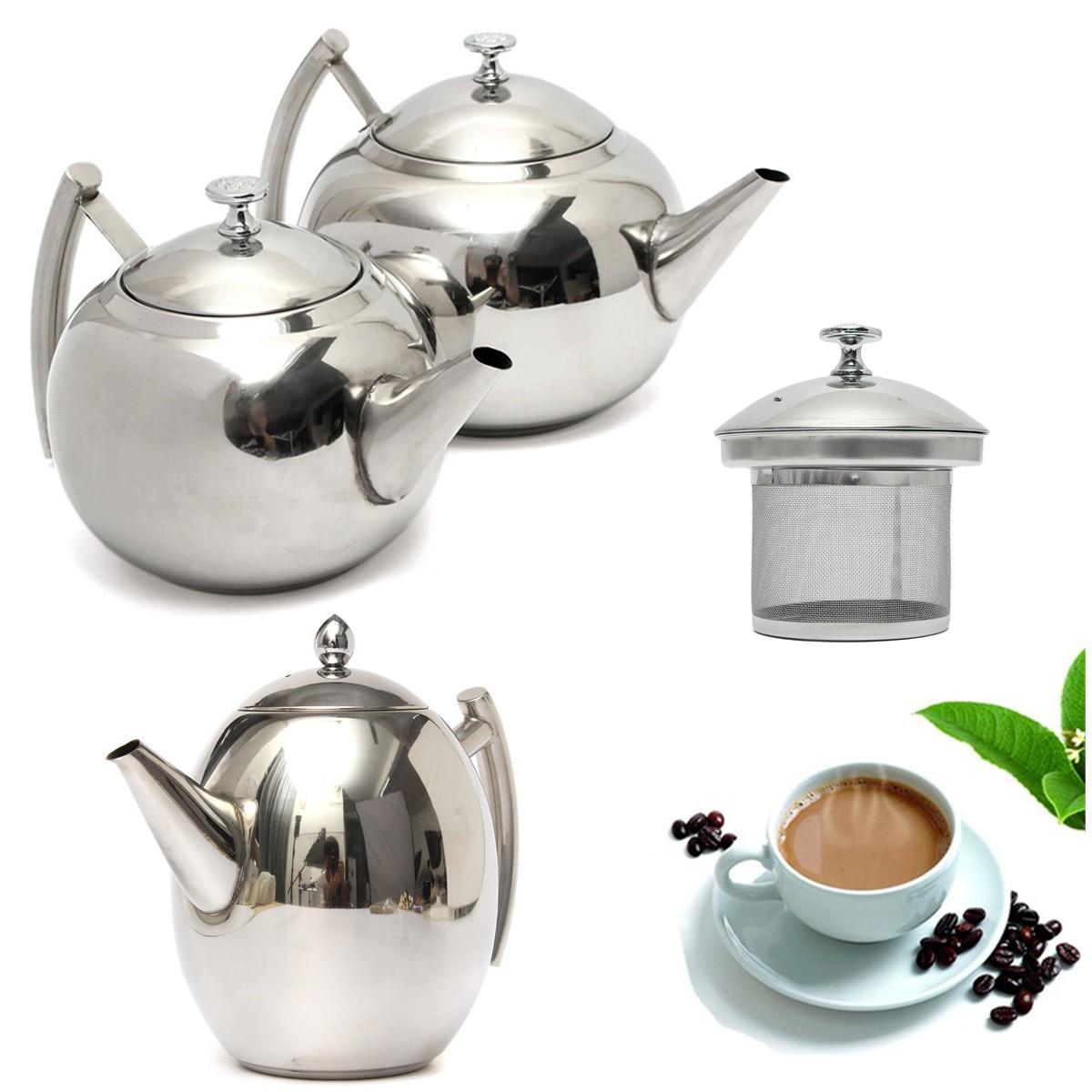1500/2000ML Sliver Чайник нержавеющей стали Круг Чайник Чайник Чайник Чайник Фильтр Infuser Прочный кофе холодная вода горшок Главная инструменты фото