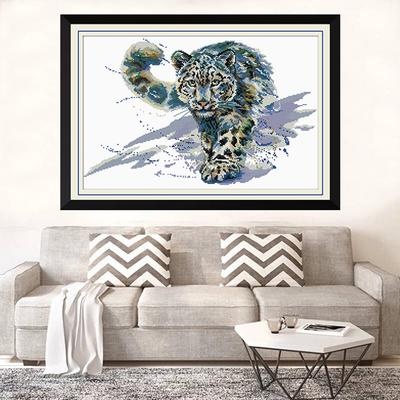 Snow Leopard for Embroidery Art Cross-Stitching Lover Stamped Cross Stitch Kits With Printed Pattern 11CT 63x44cm