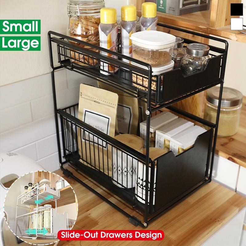 2 Layers Kitchen Storage Shelf Rack, Sliding Drawers Kitchen Cabinets