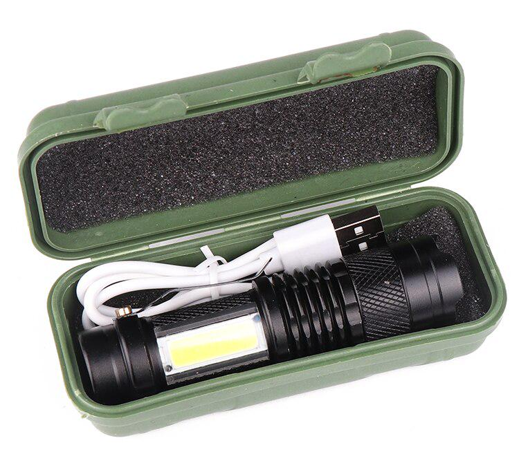 LED Torch USB Rechargeable Flashlight Police Zoomable Camping Hiking Lamp Small.