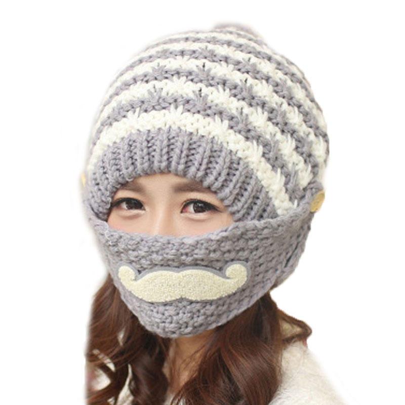 Novedad invierno punto cara máscara sombreros gorros espesan ...