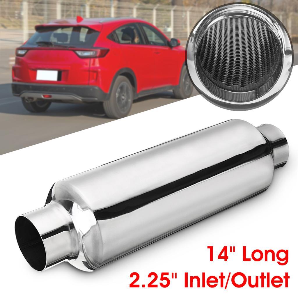 2Pcs 2/'/' In//Out 14/'/' Universal Exhaust Turbine Muffler Resonator Stainless Steel