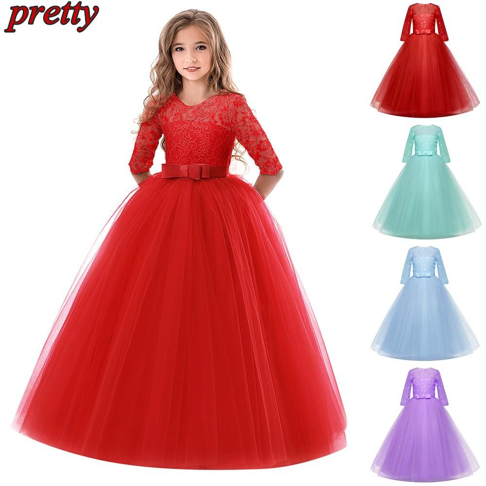 Children Kids Girls Lace Bowknot Princess Wedding Performance Tutu Dress Clothes