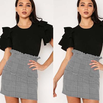 aaa6cbb0d7f Женская сексуальная юбка днища плед Трапеция оборками клуб регулярно  верхняя одежда женщин юбки