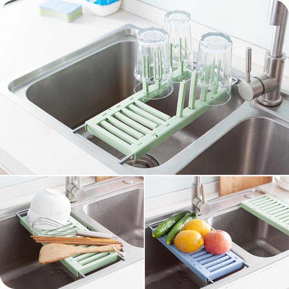Fregadero retráctil drenaje estante cocina taza porta plato bandeja ... ea6f849e65ac