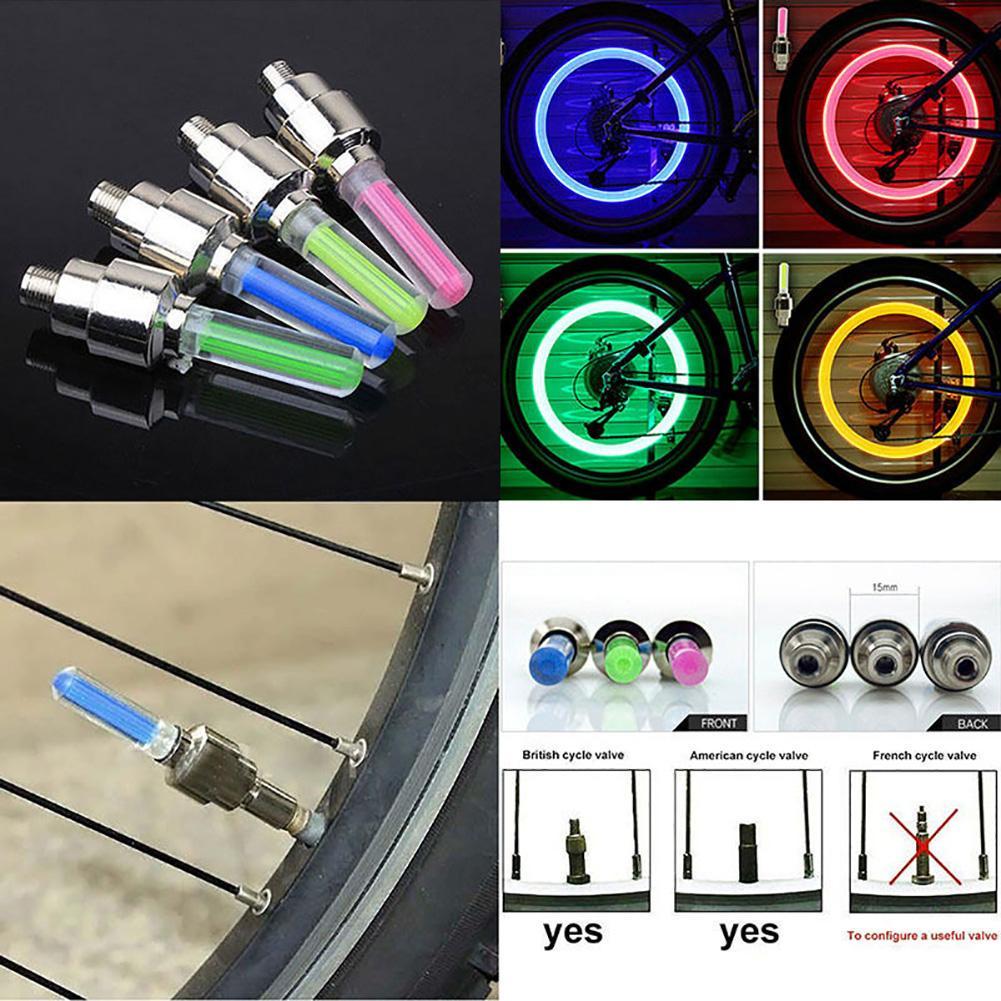 1PC Bike Car Tire Tyre Wheel Valve Caps Yellow Night LED Flash Light Neon Lamp J
