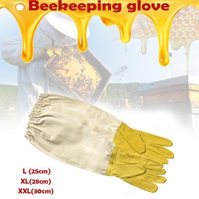 """Pair XL Beekeeping Gloves Goatskin Bee Vented Beekeeper Protective Sleeves 18.7/"""""""