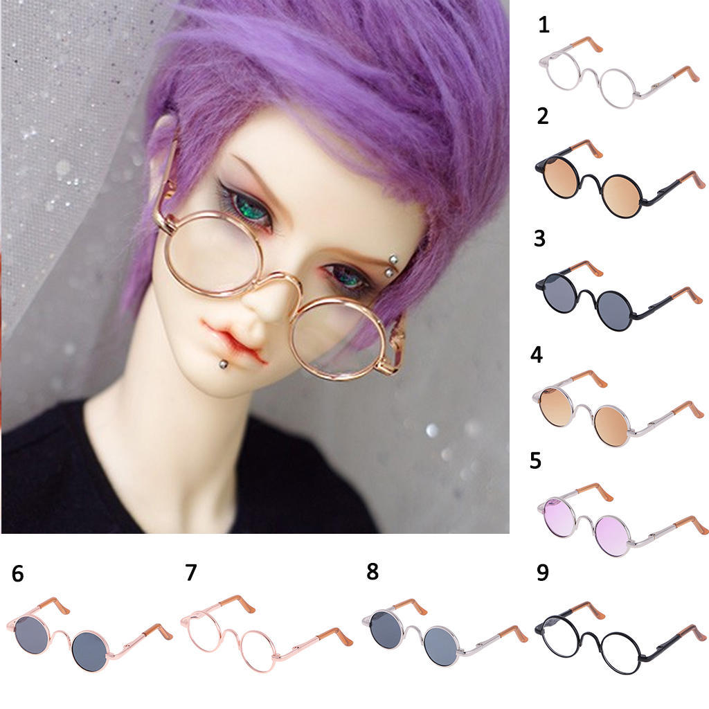 1//3 BJD Hippy Round Glasses Eyewear for SD DOD Doll Gold Frame Clear Lens