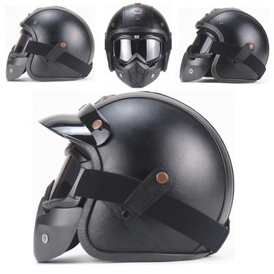 Demi Casque Moto Casque de Moto Semi-ouvert Casque de Baseball avec Bandouli/ère R/églable Casque de Protection Noir