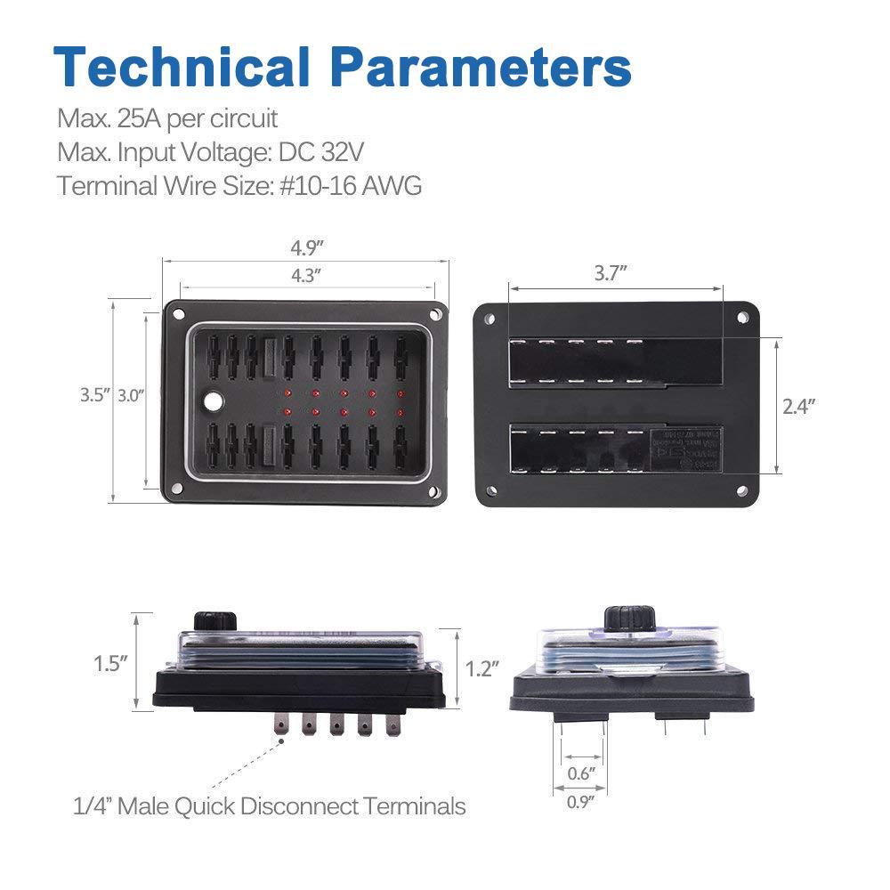 Waterproof  IP56 10-way Blade Fuse Box LED Indicator Lights Independent Power
