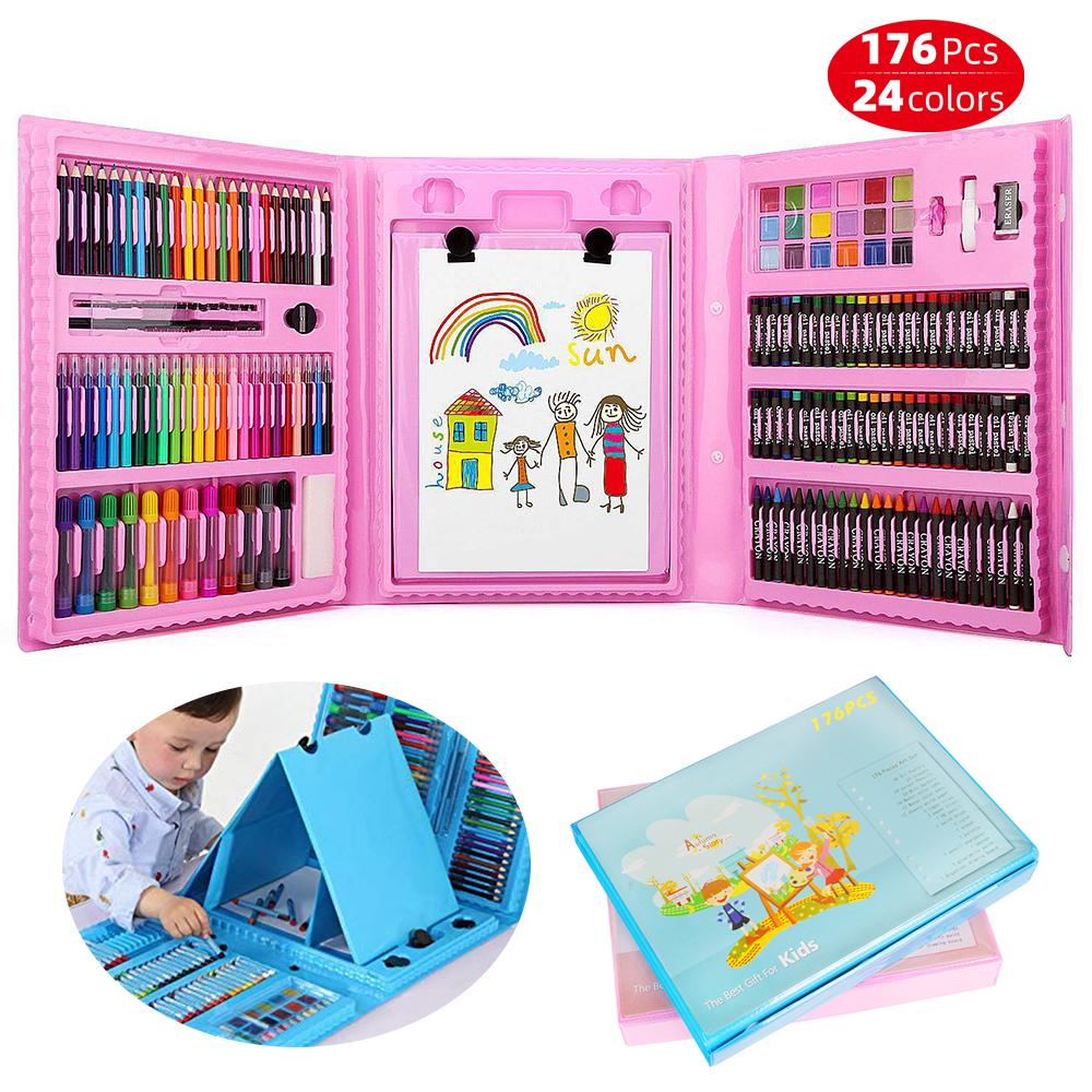 176pcs Kids Drawing Painting Kit Pastels Crayons Color Pencils with Easel