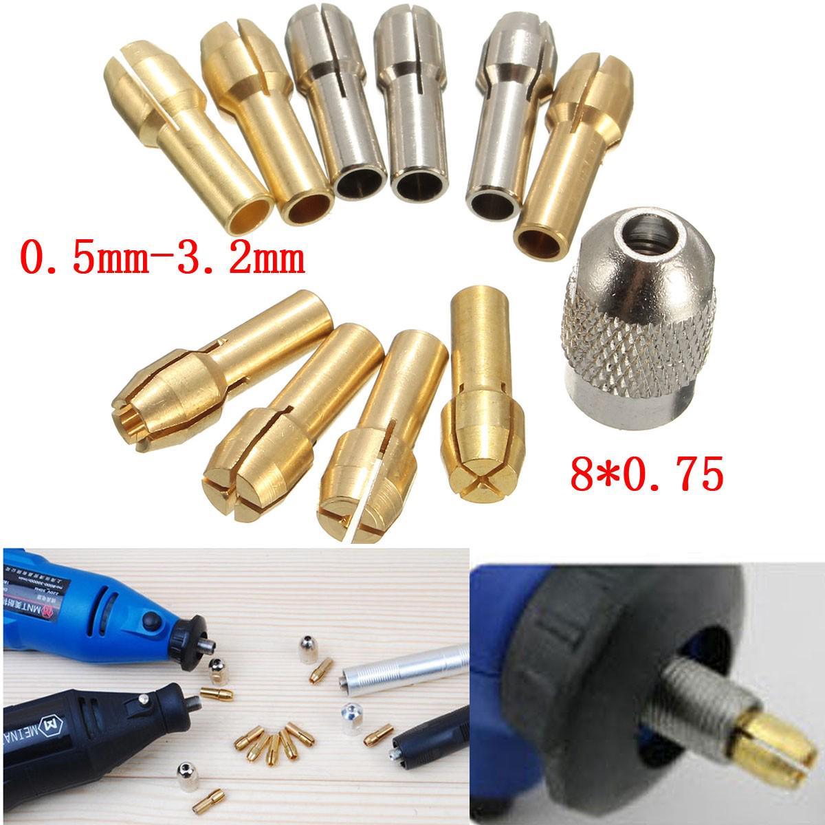 10шт металла сверлильные патроны изменения цанги бит адаптер 0,5-3,2 мм 4,3 мм электрические хвостовик роторный инструмент фото