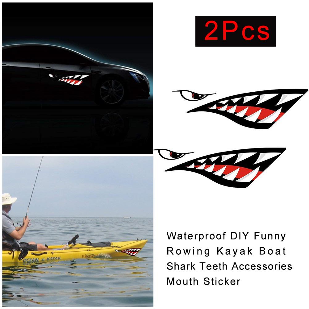 Kayak Accessories Moocy 2 Pieces Shark Teeth Mouth Decals Sticker For Canoe Kayak Surfboard Ocean Boat Diy Funny Decor Kayak Accessories Water Sports