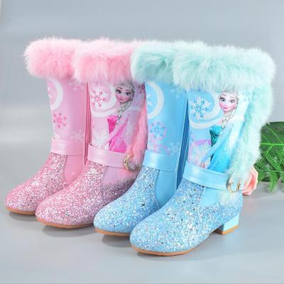 Children Girls Winter Warm Long Boots Girls Low Heel Sequins Snow Boots Frozen Boots Kid's Shoes