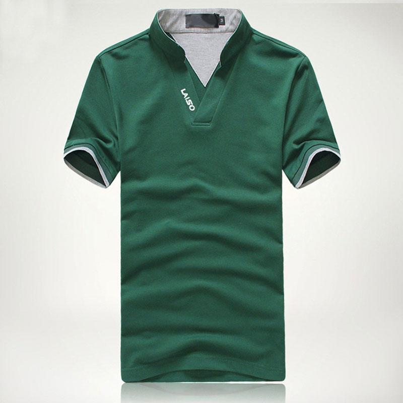 男装短袖立领T恤 韩版修身字母印花V领短T男