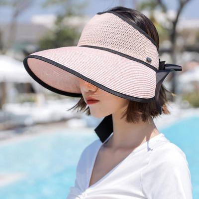 Portable Foldable Summer Sun Cap Visor Beach Straw Hat Empty Top Ponytail Women