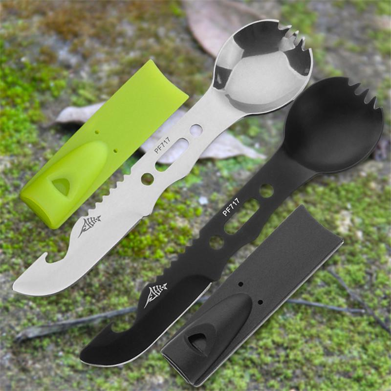 rope clasp saw bottle opener harpoon tool whistle Fork Spoon 8in1 Knife