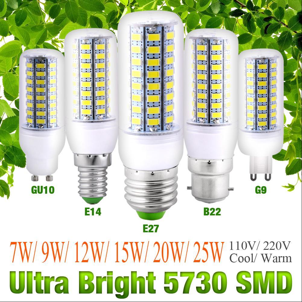 5730SMD LED Corn Bulb Lamp Cool//Warm White 110//220V Ultra Bright 9//12//15//20W G9