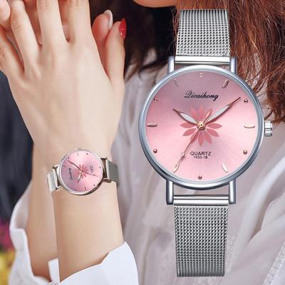 Women's Wristwatches Luxury Silver Popular Pink Dial Flowers Metal Ladies Bracelet Quartz Clock Fashion Wrist Watch